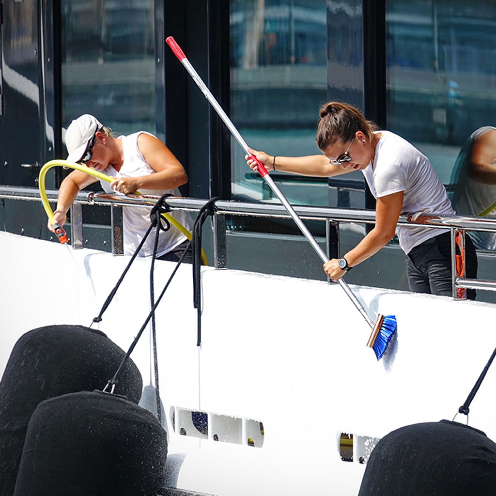 Supreme Marine VIP image of crew cleaning a superyacht