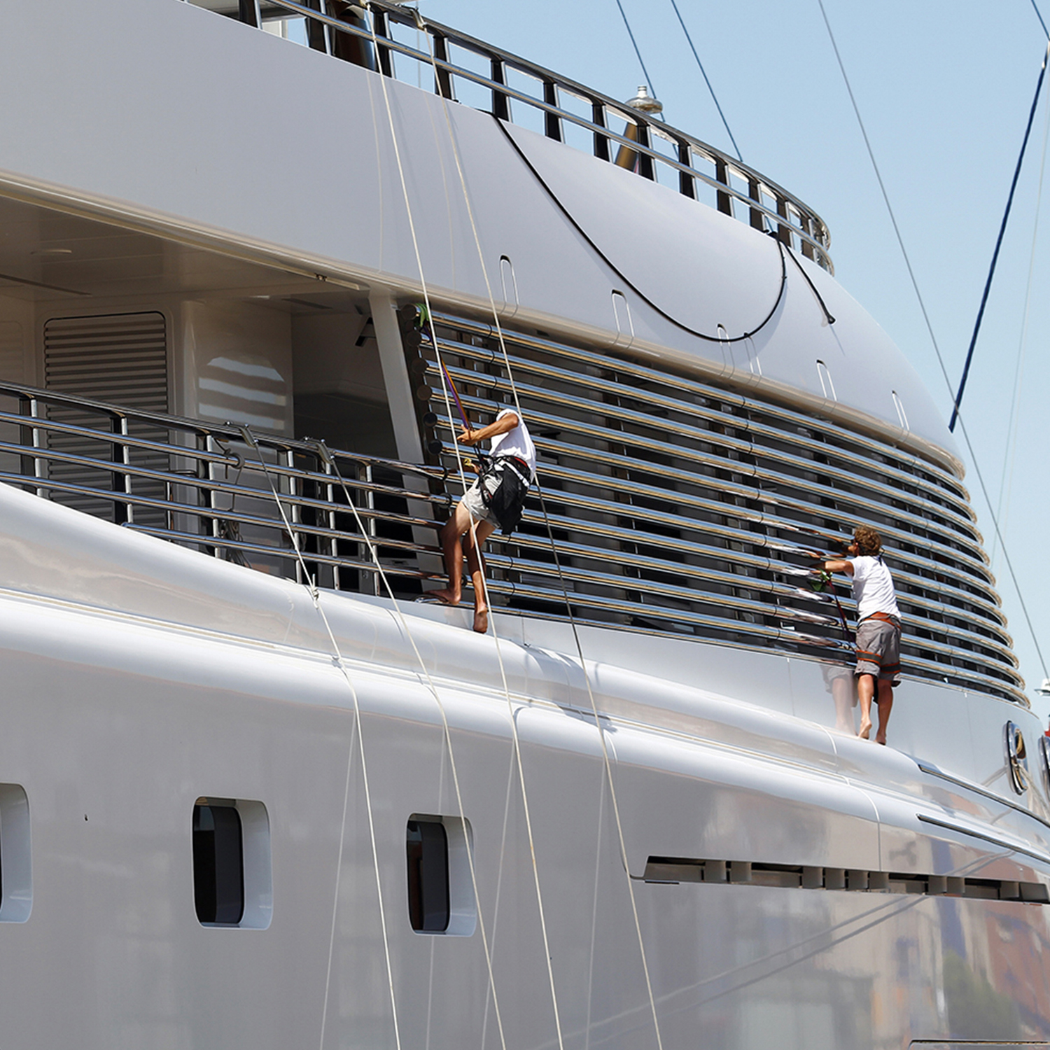Supreme Marine VIP image superyacht crew with safety harnesses